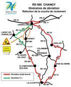 RD 985 – Commune de Changy / Travaux de réfection de la couche de roulement